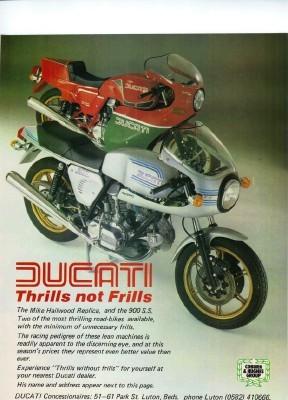 vintage ducati poster. thrills not frills