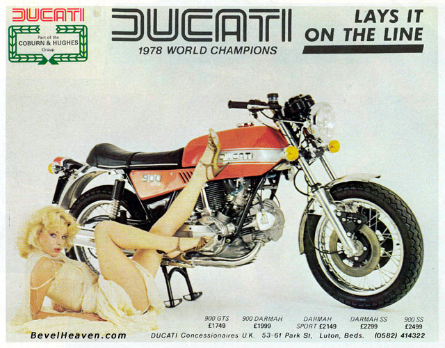 vintage ducati advert and poster with girl and bike