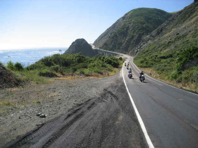 a bunch of guys riding on the pacific coast highway PCH