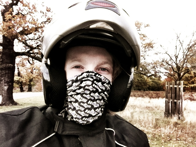 Testing the hoo-rag face mask on a motorcycle ride around Richmond Park, London